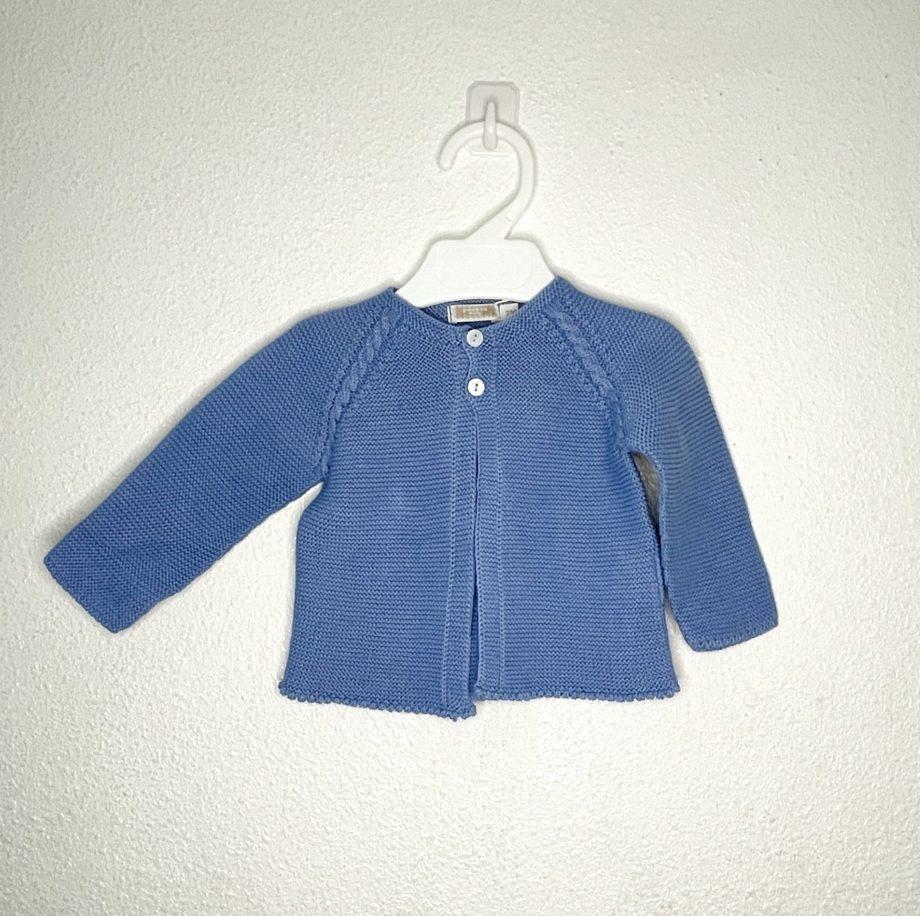 chaqueta punto larga azul